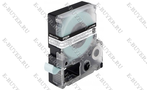 Лента термотрансферная Epson LC-4TBW9 Strong adhesive Black on Clear C53S625410