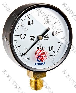 """Манометр TM-510P Ду 100 с нижним подключением (150°) 1/2"""", 0-6 бар TM-510P.6"""